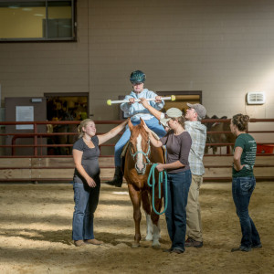 Therapeutic Riding session going on in Adams Atkinson Arena