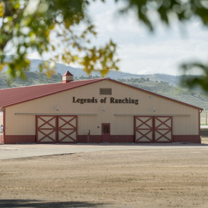 View from afar of the Legends of Ranching Barn