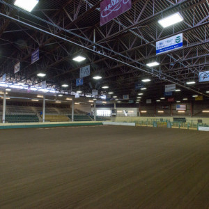View of the arena floor of the B.W. Pickett Arena