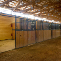 A view of a stall in the Legends of Ranching Barn