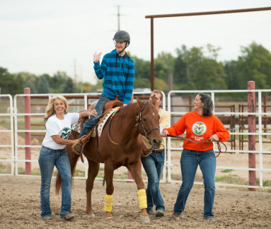 Physical Therapists work with clients doing equine-assisted therapy at the CSU Equine Center