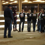 Intro to Equine Science class guest lecturer talks to a group of students