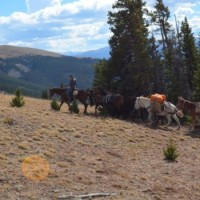 Panoramic view of the mountain riders club on a ride in the colorado mountains