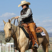 A rider competes in the trail class at a versatility show