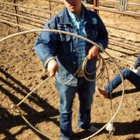 Cowboy doing rope tricks