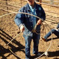 Cowboy doing rope tricks