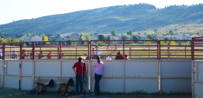 Group watching a round pen demo from afar